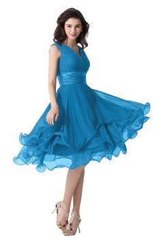 Victory Bridal Einfach Tief V Ausschnitt Abendkleider Ballkleider Brautjungfernkleider kurzes Chiffon-32 Blau