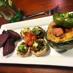 I only made the stuffed peppers. I would use less cauliflower and more meat for a more robust inside. Still tasted good though. Would also use the sweet potato sloppy joe mix I have pinned for stuffed peppers. -Leah.  Tonight's menu: Whacky Wednesday Stuffers!  Sausage