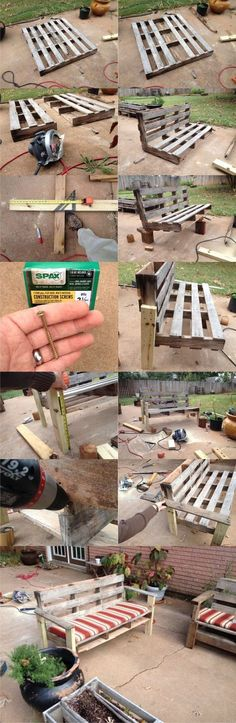tutoriel-pour-fabriquer-un-banc-en-palette-a-partir-d-une-seule-palette-model-idee/ delivers online tools that help you to stay in control of your personal information and protect your online privacy. Pallet Crafts, Diy Pallet Projects, Wood Crafts, Wood Projects, Outdoor Pallet Projects, Garden Projects, Palet Exterior, Palette Deco, Pallet Sofa