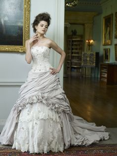 A beautiful wisteria-themed wedding dress with the price tag left off of the website... :(