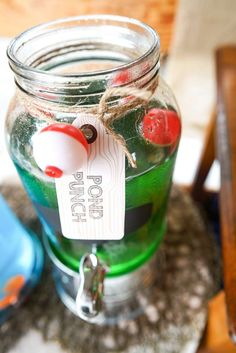 Pond punch at a fishing birthday party! See more party planning ideas at CatchMyParty.com!