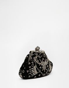 Image 2 - Moyna - Pochette en velours ornée de perles cousues main avec fermoir style vintage