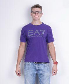 Armani Jeans Mens L T-Shirt Purple Cotton Summer