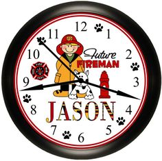 Personalized Future Fireman / Firefighter / Hero Bedroom Custom Wall Clock For Kids Simply Southern Gift. Big Boy Bedrooms, Bedroom Kids, Bedroom Wall, Firefighter Bedroom, Fire Truck Bedroom, Clock Decor, Wall Decor, Personalized Clocks, Clock For Kids