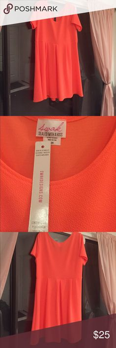 Neon orange SWAK dress Super cute SWAK dress, neon orange 2x. Never worn. SWAK Dresses Midi