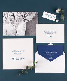 Ambiance nature chic et classique pour votre papeterie de mariage : faire-part, carton réponse, étiquette cadeau et carte de remerciement... #wedding #card #nature #elegant #classic #blue #white #pics