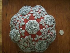 Rare antique  pincushion was made 1900 by East by TextileArtLace...