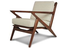 """The Kennedy Chair by Thrive Furniture   Shade Red   Honey Wood Stain   Inspired by the Danish-modern Selig """"Z"""" chair"""