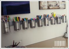 Studio Pen Organization a la cheap and cheerful. source: The Land of Lost Luggage