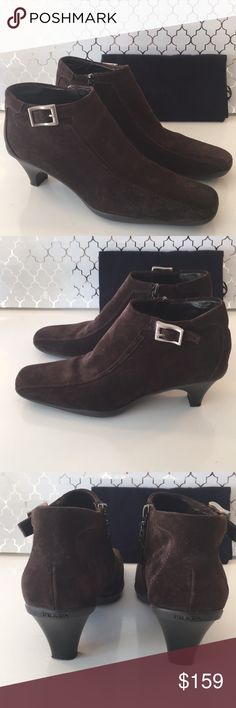 ⭐️PRADA SUEDE BOOTS 💯AUTHENTIC PRADA SUEDE BOOTS 100% AUTHENTIC. STUNNING AND STYLISH TOTALLY ON TREND! TRUE SUPER HIGH END LUXURY. THEY ARE BROWN AND ONLY WORN ONCE! SIZE EUROPEAN 37 WHICH CONVERTS TO AN AMERICAN 7 . THEY COME WITH THE PRADA DUST BAG Prada Shoes Ankle Boots & Booties