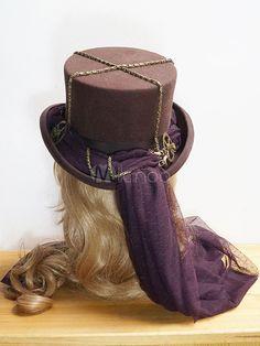 Halloween chapeau Steampunk Steampunk brun lunettes détail chapeau haut de forme pour les femmes Halloween - Milanoo.com
