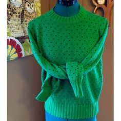 """Vintage Clover Green Dot Sweater Really cute sweater, excellent vintage condition! 100% acrylic. Bust 42"""" Length: 21.5"""" Vintage Sweaters Crew & Scoop Necks"""