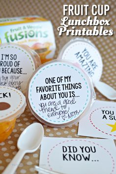 Fruit Cup Lunchbox Printables - fun for back to school. Add a little something special to your kids lunches!