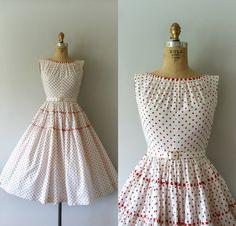 Vintage 1950s Dress - 50s Red Polka Dot Cotton Dress on Etsy, $128.00