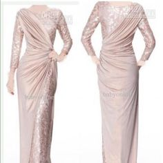 2017 Custom Made Pearl Pink Long Sleeves Mother Of Bride Evening Dresses Jewel Neck Elegant Glossy Floor Length Pleats Formal Prom Gowns Mothers Dress. Trendy Dresses, Elegant Dresses, Nice Dresses, Dresses With Sleeves, Long Dress Formal Elegant, Lace Sleeves, Short Sleeves, Evening Dresses, Prom Dresses
