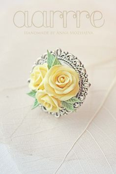 Thre yellow roses cameo style ring by aarrre on Etsy, $31.00