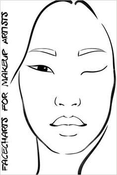 Facecharts for Makeup Artists: Shea   Blank Makeup Face Charts