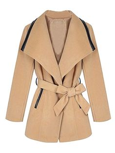 Camel Lapel Coat With Long Sleeve | Choies
