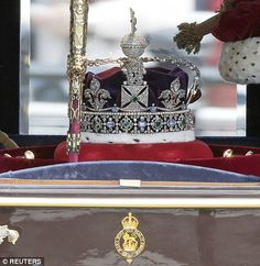 The Queen's Imperial State Crown makes its own way to the Houses of Parliament for the State Opening of Parliament