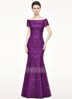 Trumpet/Mermaid Off-the-Shoulder Floor-Length Zipper Up Regular Straps Sleeveless No 2015 Grape Spring Summer Fall Winter General Plus Lace Mother of the Bride Dress Lace Wedding Dress, New Wedding Dresses, Lace Dress, Bridesmaid Dresses, Prom Dresses, Summer Dresses, Formal Dresses, Wedding Shoes, Formal Wear