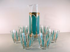 Mad Men Martini Decanter and Glasses in Turquoise by SproutVintage, $75.00