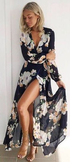 Black Bohemian Long Sleeve Maxi Dress for Teen,Casual,Summer,Fall Midi Dress Outfit Idea fashion designer.This dress is good for party,casual wear,cocktail.