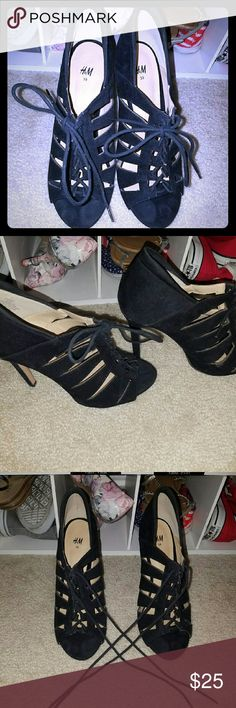 Black strappy heels Very cute,  great condition, hardly worn H&M Shoes Heels