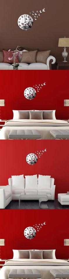 Warm Corner LM Butterfly 3D DIY Mirror Living Room Home Modern Design Decoration Wall Clock, Aug 17 $3.82