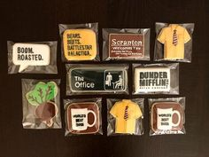 """Handmade """"The office"""" decorated sugar cookies Office Themed Party, Office Birthday, 28th Birthday, Office Parties, Rose Cookies, Sugar Cookies, The Office Wedding, Office Baby Showers, Engagement Cookies"""