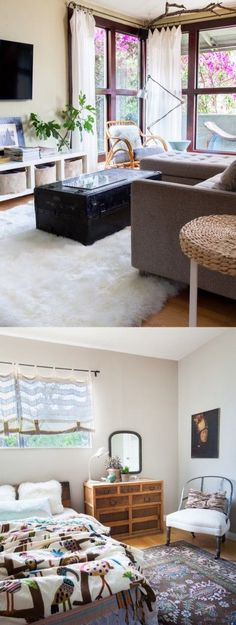 sheepskin rug and branches