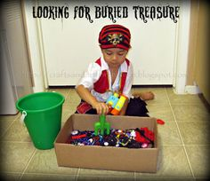 Crafts -N- Things for Children: Pirate Sensory Play Bin ~ Talk Like a Pirate Day Idea Pirate Party Games, Pirate Activities, Pirate Theme, Fun Activities For Kids, Sensory Activities, Infant Activities, Learning Activities, Preschool Ideas, Disney Activities