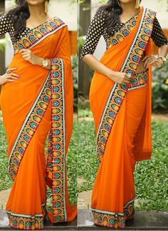 Buy Orange Georgette Replica Saree