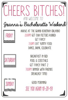 Custom bachelorette weekend agenda! Keep your girls in line and on time with this fun party agenda. All colors and details are customizable!