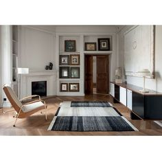 Nanimarquina Home Tres Black Wool & Cotton Rug ($1,935) ❤ liked on Polyvore featuring home, rugs, wool dhurrie rugs, black wool rug, hand woven area rugs, handmade wool rugs and knotted wool rug