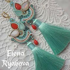 Soutache Necklace, Bead Earrings, Tassel Earrings, Shibori, Soutache Tutorial, Beaded Embroidery, Jewelery, Fashion Jewelry, Handmade