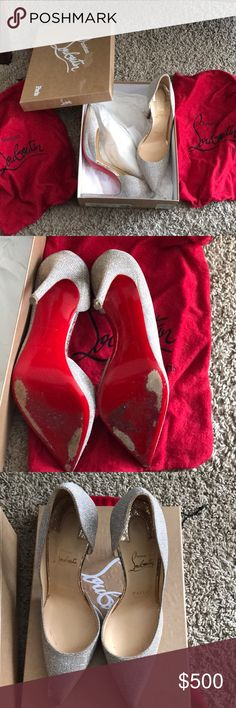 Christian Louboutin size 38 These are a pair of IRIZA 100 Glittex/Lame Sirene The color is silver/gold size 38   Includes dust bags and box Christian Louboutin Shoes Heels