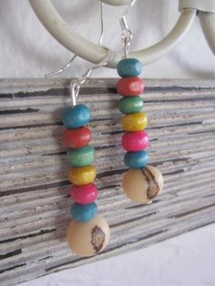 Coconut and Acai Seed Bead Earrings Colorful and by SmithNJewels, $7.99