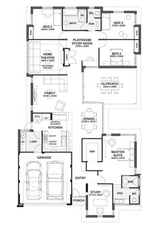 Floor Plan Friday: Study, home theatre & open play area 4 Bedroom House Plans, Dream House Plans, Modern House Plans, House Floor Plans, New Home Designs, Home Design Plans, Plan Design, Home Theater, Theatre
