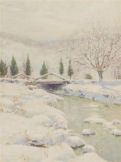 WALTER LAUNT PALMER American (1854-1932) The Bridge in Winter gouache, signed lower left.