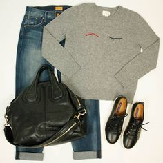 Casual and yet oh so cute for the first day of March! #Givenchy bag $800 #RalphLauren shoes sz 37.5 $225 #Mother pants sz 4 $105 #Bandofoutsiders sweater sz 4 $125