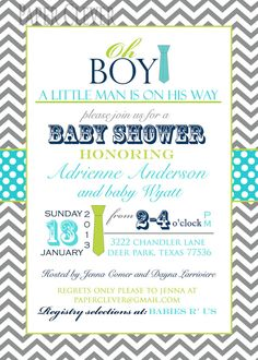 Boys baby shower invitation oh boy, tie,chevron stripe, via Etsy.