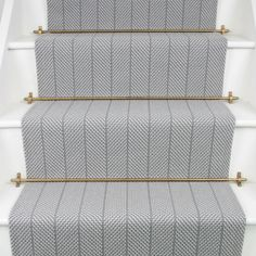 Fleetwood Fox Stair runner Grayling 2 Available at Mister Smith Interiors Hallway Inspiration, Home Decor Inspiration, Carpet Staircase, Carpet Runner On Stairs, Staircase Runner, Striped Carpet Stairs, Grey Stair Carpet, White Staircase, Hallway Carpet