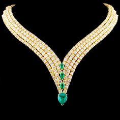 18K Gold 5.00ct Emerald & 50.00ct Diamond Necklace