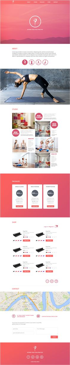 yoga circle web and app Web Design Examples, Web Design Tips, Best Web Design, Wireframe, Layout Design, Web Layout, Yoga Flyer, Ecommerce, Photography Website Templates