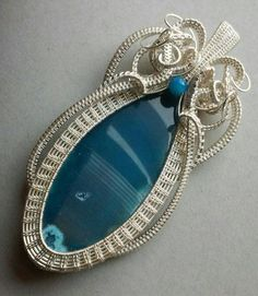 Artisan Wire Wrapped,  Wire Woven, Wire Sculpted, Large Agate Slice Women's Pendant,  Woven and Wrapped in Silver Plate, OOAK Sparrow Song