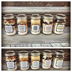 holiday baking goodies in a jar! these are such great gift ideas and all sound delicious! Jar Gifts Gifts in a Jar Mason Jar Meals, Meals In A Jar, Pot Mason, Dessert Recipes, Dessert In A Jar, Edible Gifts, Diy Food Gifts, Food Gifts For Men, Homemade Gifts