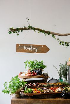 Great idea for a snacks table at a wedding | by Otho's Table |Trestle table by Timbermill | Photo: Luisa Brimble
