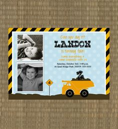 Printable Boys Birthday Invitation - Construction Invitation - Dump Truck Invitation - Construction Truck Boys Invite. $15.00, via Etsy.