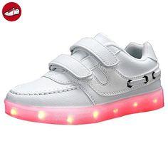 [Present:kleines Handtuch]Weiß EU 32, Charge 7 Wiederaufladbare Turnschuhe Sportschuhe JUNGLEST® Luminous LED weise Up Kids Un