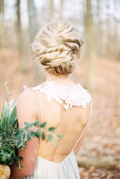 Romantic twisted updo hairstyle: Photography : Brianna Wilbur Photography Read More on SMP: http://www.stylemepretty.com/2016/02/18/glamorous-woodsy-winter-wedding-inspiration/